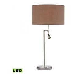 Dimond - Two Light Satin Nickle Light Taupe Fabric Shade Table Lamp - Two Light Satin Nickle Light Taupe Fabric Shade Table Lamp