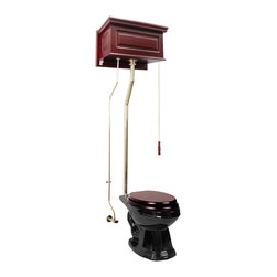 Renovators Supply - High Tank Toilets Black Cherry Fin High Tank Elong Toilet L-pipe - High Tank Toilets L-pipe: Our stylish high tank round toilet will lend your lavatory the charm & ambiance of the Victorian age. We've updated the materials and components with 21st century technology. All tanks are a water-saving 1.6 gallons per flush. Ready to install with all mounting parts, includes cherry finish raised panel tank, liner, supply line, angle stop, mounting hardware and grade A vitreous elongated bowl. Toilet seat not included. Adjustable overall height 70 in. to 74 in. & adjustable rough-in 12 to 15 in.