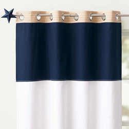 Rugby Blackout Panel, Navy/White - Made from sturdy cotton sailcloth and lined with a blackout liner, these rugby stripe panels from Pottery Barn Kids hang from grommets for a look that's both rugged and tailored.