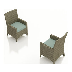 Forever Patio - Hampton Patio Dining Armchair, Heather Wicker and Spa Cushions - The sleek and stylish Forever Patio Hampton Outdoor Rattan Dining Armchair with Turquoise Sunbrella cushions (SKU FP-HAM-DAC-HT-SP) makes outdoor dining a luxury experience. The UV-protected, chocolate-colored wicker sports a flat woven design, creating a contemporary look with clean lines. Each strand of this outdoor wicker is made from High-Density Polyethylene (HDPE) and is infused with its rich color and UV-inhibitors that prevent cracking, chipping and fading ordinarily caused by sunlight. This outdoor dining chair is supported by thick-gauged, powder-coated aluminum frames that make it more durable than natural rattan. This dining armchair includes a fade- and mildew-resistant Sunbrella cushion for added comfort in your outdoor space.