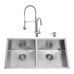 """VIGO Industries - VIGO All in One 32-inch Undermount Stainless Steel Double Bowl Kitchen Sink and - Enhance the look of your kitchen with a VIGO All in One Kitchen Set featuring a 32"""" Undermount kitchen sink, faucet, soap dispenser, two matching bottom grids and two sink strainers."""