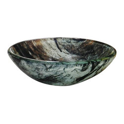 YOSEMITE HOME DECOR - Double Dutch Round Basin - Creamy marbled earth tones with glossy finish.
