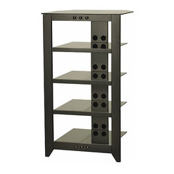"""Sanus - Natural AV Series Audio Rack - The Sanus Foundations Natural Series NFA245 is a 45-inch tall five-shelf audio standwith a contemporary design that blends perfectly into any home d cor. Its hardwood and graphite-finished steel construction offers a superior combination of stability and elegance. Extra-thick tempered-glass shelves support up to 50 lbs and feature smoked glass. The top shelf rear corners are angled for positioning in corners. Features include non-slip protector pads to isolate shelves from frame, open architecture for unrestricted airflow and a concealed rear cable management channel. Features: -Five tempered-glass shelves with polished edges are strong and stylish.-Top shelf rear corners are angled to allow tight placement in corners.-Wire management system helps keep cables concealed and organized.-Open architecture allows unrestricted airflow to keep AV components cool.-Hardwood frame is strong and solid for optimum acoustics.-Fits up to a 45'' TV.-Natural AV Series collection.-Shelves are not adjustable.-Solid Wood Construction: No.-Distressed: No.-Material: Wood & Steel.-Scratch Resistant Shelves: No.-Cloth Back Detail: No.-Multimedia Storage: No.-Casters: No.-Sand Lead Fillable: No.-Stabilizer Feet: No.-Lighted: No.-Hardware Included: Yes.-Weight Capacity: 280 lbs.-Shelf Weight Capacity: Top 60lbs, middle 50lbs, bottom 70 lbs.Dimensions: -Top shelf capacity: 60 lbs.-Middle shelves capacity: 50 lbs.-Bottom shelf capacity: 70 lbs.-Top shelf dimensions: 26'' W x 22'' D.-Middle shelves dimensions: 19'' W x 18.49'' D.-Assembled Dimensions Height: 45.1"""".-Assembled Dimensions Width: 26"""".-Assembled Dimensions Depth: 22"""".-Assembled Weight: 74 lbs..-Shelf Depth: 19"""".-Shelf Width: 18.5"""".Assembly: -Assembly Type: Assembly Required.Warranty: -Product Warranty: 5 year limited warranty."""