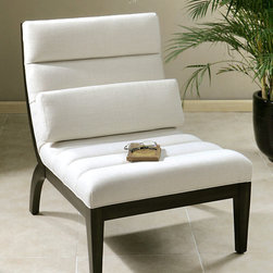 Berlynn Armless Chair - It would be well placed amidst the appointments of a Hollywood Hills bungalow where the glitterati gather, a sleek SoHo loft, or a metropolitan pied-�-terre; such is the versatility of the Berlynn Armless Chair. The durable white linen blend offers dramatic contrast to the exposed wood frame with rubbed ebony finish.