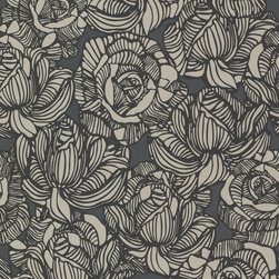 Calista Black Modern Rose Wallpaper. - A sexy and contemporary wallpaper in black and polished pewter. Large-scale, glamorous roses make a romantic fashion statement.