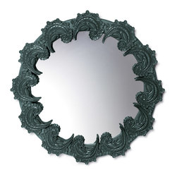 "Lladro Porcelain - Lladro Spiral Mirror Green - Plus One Year Accidental Breakage Replacement - ""Hand Made In Valencia Spain - Limited To: 300 Pieces Worldwide - Included with this sculpture is replacement insurance against accidental breakage. The replacement insurance is valid for one year from the date of purchase and covers 100% of the cost to replace this sculpture (shipping not included). However once the sculpture retires or is no longer being made, the breakage coverage ends as the piece can no longer be replaced. """
