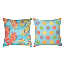 "Manual - Pair of ""Tropical Flip Flops"" 18 Inch Indoor / Outdoor Throw Pillows - This pair of 18 inch by 18 inch woven throw pillows adds a wonderful accent to your home or patio. The pillows have (No Suggestions) weatherproof exteriors, that resist both moisture and fading. The fronts of the pillows feature a brightly colored tropical flip-flops print, and the backs have a multicolored polka dot print. They have 100% polyester stuffing. These pillows are crafted with pride in the Blue Ridge Mountains of North Carolina, and add a quality accent to your home. They make great gifts for anyone who loves the summertime."