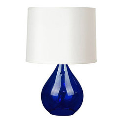 Style Selections Modern Table Lamp, 3-Way Switch, Cobalt Blue - Place these table lamps on either side of your nightstand for some bold color.