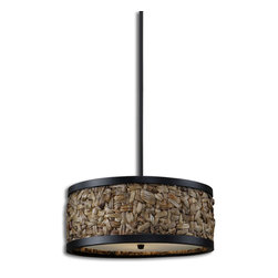 Uttermost - Calameae 3-Light Pendant - If you have a cool, beachy kind of vibe and love to bring the outdoors in, take a look at this pendant lamp reminiscent of Polynesian handcrafted art. It's woven natural rattan and would be perfect in an indoor/outdoor patio or garden setting.