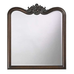 Howard Elliott Eliza Vintage Mirror - Eliza has a rectangular resin frame with an .ornate, carved design at the top and is finished with an .antique bronze giving the mirror a traditional vintage look.