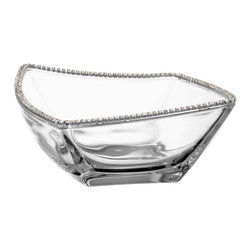 """Alan Lee Collection - Princess Collection 6"""" Wave Rim Square Bowl - A small 6"""" wave glass bowl is adorned with hand applied cut crystal accents along the rim."""