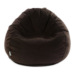 Majestic Home - Indoor Dark Brown Faux Suede Small Bean Bag - You've got style in the bag — the beanbag, that is. Thanks to this faux suede upgrade, the hippie pad staple looks and feels oh-so-sophisticated. Bonus: The slip zips off for cleaning in a snap.