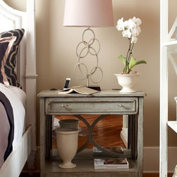 "Habersham - Habersham Harmony 34 x 18 Rectangular End Table - It all started in the small North Georgia town of Clarkesville. It was 1969 and Habersham founder Joyce Eddy had just been given the chance to operate a small antique shop located above an old laundromat. This was just the opportunity a woman of Joyce's vision and energy would turn into the perfect blend of utility artistry and soul. Looking for ways to make her antique business more profitable she began crafting small decorative purses from vintage wooden cigar boxes. They were totally unique and they were an instant hit. Joyce named her new venture Habersham Plantation after Georgia's Habersham County and the plantations for which the area was known. The ideas just kept coming. One day Joyce was driving by a local textile company and spotted a large pile of old discarded wooden spools. Those spools were soon crafted into candleholders towel racks and folk art items. With the help of her sons and other family members Joyce expanded Habersham's offerings to include handcrafted furniture reflecting the American Country designs of the early 17th and 18th centuries. As word spread and production demands grew Joyce enlisted the help of woodworkers from her North Georgia region. This area had been a center for cabinetmaking since the early 1800s and the master craftsmen were well-schooled in the time-tested woodworking and joinery techniques that matched Joyce's sense of style and function. She even designed her factory to work just as the 18th century cabinetmakers did with individual artisans hand-finishing signing and dating each piece of furniture they crafted. Today Habersham still leads the way in the fine art of furniture design. So much so that in addition to their product line a new ""whole home"" concept is finding its way into some of the finest dwellings in the country. Custom kitchen bath and other cabinetry designs offer rich opulent finishes and blend seamlessly with rooms of casual elegance all enhancing today's gracious lifestyle. Features include One drawer."