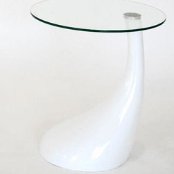 Baxton Studio - Vanessa White End Table - The asymmetrical base on this contemporary white end table has an abundance of style that will accentuate your modern, contemporary, or art deco room. The clear glass top rests gracefully off center, a lovely place for family photos or decorative items.