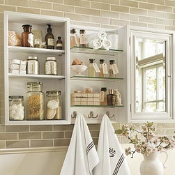 Modular Wall Extra-Large Glass Shelves with Hooks, White - Customize the perfect storage solution with our modular components. Each hardwood-framed piece is sized to fit easily in small spaces. Combine them to fill an entire wall. Finished in a moisture-resistant white painted finish. French cleat mounting system provides stability. Tempered-glass shelves. Medicine cabinet features a beveled mirror and two adjustable shelves. Cubby has two adjustable shelves. Open shelf unit has three fixed glass shelves and three double hooks. XL shelf has three fixed glass shelves and four double hooks. View our {{link path='pages/popups/fb-bath.html' class='popup' width='480' height='300'}}Furniture Brochure{{/link}}. Catalog / Internet only.