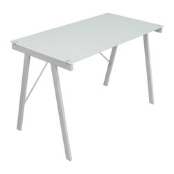 Lumisource - Printed Blank Office Desk w Glass Top - Tempered glass top. Sturdy metal frame. Great for use as office desk or drafting table. Shown in White. Material: Glass, Metal. Assembly Required. Dimensions: 22.75 in. L x 44.5 in. W x 28.75 in. H ( 32 lbs. )The Printed Blank Office Desk features a reverse monochrome print to give your office a clean look! Tempered Glass atop Steel Frame completes the uncluttered appeal.
