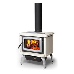 Pacific Energy Vista Classic Series 25'' x 28'' Wood Burning Stove - Combine the features and performance of the Vista with the ageless beauty of porcelain finish and your choice of door, leg and trivet finish, and you have the Vista Classic. Traditional elegance with state-of-the-art woodburning performance.