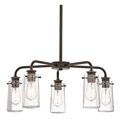 Vintage Vessel Glass Jar Chandelier 5 Light -