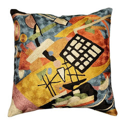 """Modern Silk - Kandinsky Cushion Cover Black Frame Decorative Hand Embroidered 18"""" x 18"""" - Star fragments and enigmatic hieroglyphs artfully stitched in the finest Kashmir wool chainstitch needlework. Cosmic colors like blue, lavender and silver complement earthier tones of terra cotta, harvest green and amber to recreate a design based on the work of influential Russian artist, Wassily Kandinsky.The exciting pattern evokes the thought of a ladder to the stars, a comet's tail,or a star map. This cover could grace the cabin of your boat or the chair in your solarium and yet be equally as comfortable in your den. Durable and easy to clean, this toss pillow will catch the eye of every passerby."""