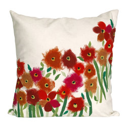 """Trans-Ocean - Poppies Red Pillow - 12""""X20"""" - The highly detailed painterly effect is achieved by Liora Mannes patented Lamontage process which combines hand crafted art with cutting edge technology.These pillows are made with 100% polyester microfiber for an extra soft hand, and a 100% Polyester Insert.Liora Manne's pillows are suitable for Indoors or Outdoors, are antimicrobial, have a removable cover with a zipper closure for easy-care, and are handwashable."""