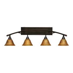 "Toltec - Toltec 174-Bc-454 Bow 4-Light Bath Bar Shown in Black Copper Finish - Toltec 174-BC-454 Bow 4-Light Bath Bar Shown in Black Copper Finish with 7"" Firre Saturn Glass"