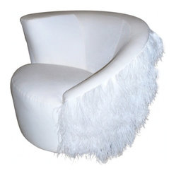 ecofirstart - 1940's Swivel Chair - All dressed up with somewhere to go. Upholstered in white velvet and boa feathers, this circa 1940s swivel chair looks equally fabulous in your contemporary boudoir as it does in your traditional living room.