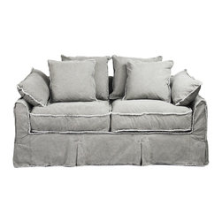Kathy Kuo Home - Kelvin Stonewash Canvas Fog Cottage Style 2.5 Seat Loveseat - Specially sized for smaller spaces, this country cottage couch brings casual comfort to any rustic interior. The soft fog-colored fabric encourages serious lounging, while the sofa's vintage-style threaded edging and skirt pleats make it a relaxed addition to a more formal contemporary living space.