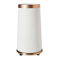 "Global Views - Global Views Encircle Tall Vase in White Gold - Metallic elegance defines the Global Views Encircle tall vase's mod style. Shimmering gold trim accents the round white vessel for a bold and intriguing tabletop aesthetic.8.5"" Dia x 16""H; Ceramic"