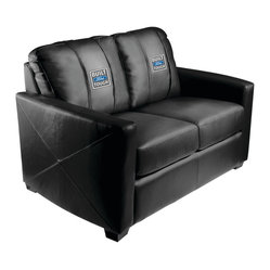 Dreamseat Inc. - Ford Built Ford Tough Xcalibur Leather Loveseat - Check out this incredible Loveseat. It's the ultimate in modern styled home leather furniture, and it's one of the coolest things we've ever seen. This is unbelievably comfortable - once you're in it, you won't want to get up. Features a zip-in-zip-out logo panel embroidered with 70,000 stitches. Converts from a solid color to custom-logo furniture in seconds - perfect for a shared or multi-purpose room. Root for several teams? Simply swap the panels out when the seasons change. This is a true statement piece that is perfect for your Man Cave, Game Room, basement or garage.