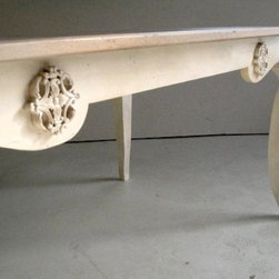 Sculpted Base on Oak Dining Table - Made by http://www.ecustomfinishes.com