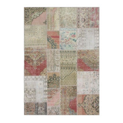 """Pre-owned Natural & Rose Overdyed Turkish Patchwork Carpet - Traditional Turkish patterns from an assortment of vintage pieces mix to make this hand made, naturally distressed vintage rug. Full cotton backing and decorative blanket stitch edging.    Remnants of vintage wool on a cotton warp, made entirely by hand in the '60's through '80's when Turkish women still included weaving in their daily homemaking chores. Employing the sturdy double knot technique unique to Turkish rugs, multicolor floral and medallion motifs were created a row at a time using bright hand dyed wools. Considered too old fashioned for modern Turkish homes in their traditional incarnations, these rugs have languished in back rooms of the bazaars‰Ű_until now, as these fragments in excellent condition are overdyed and combined to create modern patchwork statements for the floor.    Note from the seller: """"Our revitalization process keeps rugs that may otherwise get tossed out of landfill. Repurposed discards are helping artisans connect and create, supporting the community we're building here in Istanbul to revive vanishing traditional fiber crafts.‰Űť    Please note that all sales are final - These amazing rugs are coming direct from Istanbul, Turkey and returns will not be allowed."""