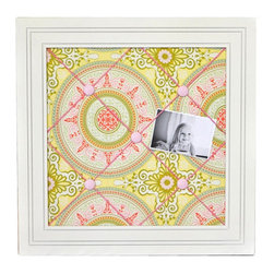 Pink Medallion Memo Board - A memo or pin board is a wonderful place for your child to display invitations, photos or certificates. I love this version with a chic and vibrant pink and yellow medallion pattern.