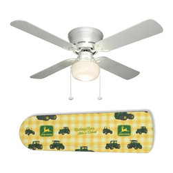 """Classic John Deere 42"""" Ceiling Fan and Lamp - 42-inch 4-blade ceiling fan with a dome lamp kit that comes with custom blades. It has a white flushmount fan base. It has an energy efficient 3-speed reversible airflow motor for year long comfort. It comes with complete installation/assembly instructions. The blades can be cleaned with a damp cloth. It is made with eco-friendly/non-toxic products. This is brand new and shipped in the original box. This is not a licensed product, but is made with fully licensed products. Note: Fan comes with custom blades only."""