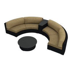 Urbana Eclipse 4-Piece Round Sectional Set, Beige Cushions