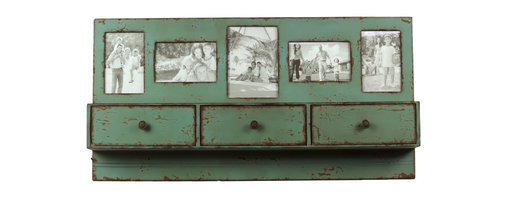 Urban Trends Collection - Green Wooden Shelf Picture Frame - Display all of your favorite memories with this decorative wooden shelf. Featuring five places where you can put photos,this rustic wooden shelf features a weathered look giving your home a picturesque feel.