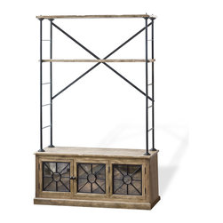 Kathy Kuo Home - Brower Rustic Lodge Wood Metal Glass Rack Cabinet - Antique style with adjustable shelves; furniture doesn't get much better than this rustic shelving unit. The mirrored cabinets make a great place for storing electronic equipment you'd rather keep out of sight, while the open shelving above makes the ideal place for your TV or favorite books.
