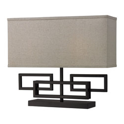 Dimond Lighting - 1-light Pewter Geometric Table Lamp - This modern table lamp features a pewter-finished steel base with a geometric pattern. This table lamp is finished with a long rectangular shade to complement the unique style.