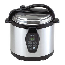 Metal Ware Corporation - Nesco 3-in-1 Digital Pressure Cooker - Includes steaming rack and glass cover. Programmable 6-quart capacity with presets and delayed start. Slow cook for up to 9.5 hours or warm and re-heat food. Removable non-stick cooking insert. Cool-touch lid and handles. Safety steam release prevents cover from being opened until pressure is reduced to a safe level. Warranty: One yearThe NESCO Digital Pressure Cooker cuts cooking time by up to 70% and performs several functions: pressure cook, slow cook, steam, brown and warm. Automatically switches to warm setting after cooking cycle is complete. User-friendly digital display with soft-touch buttons, cool-touch handles, self-locking lid, automatic pressure release valve and removable non-stick cooking insert for easy clean-up.