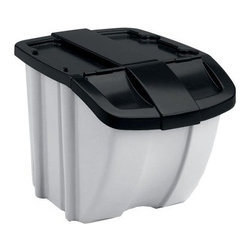 Suncast Hopper Bin - 4 Pack - The Suncast Hopper Bins allow you plenty of versatile storage options. This set contains a total of four 18-gallon (72-quart) bins, each made from durable resin and featuring easy-access front-flap lids. The lids stay open when desired, and the units can be stacked both with and without the lids. These bins feature gray bodies with black lids and are perfect for recycling, storage, and much more both in the house and around the yard. Each bin measures 18.25L x 24.375W x 17H inches.About Suncast Corporation:Suncast is known for its high-quality, low-maintenance storage products and accessories. Organize gardens, back yards, garages, basements, and more. Suncast's full line of products includes everything from storage lockers to sheds and bins. Suncast pieces are designed for low-maintenance, worry-free performance that's versatile enough to suit your every need.