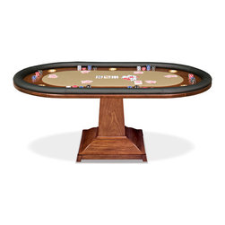 "California House - robie 96-in texas holdem table - These solid hardwood tables are custom-crafted in the US in maple with your choice of four wood finishes and four felt colors. Choose from Berkeley, Claridge, Robie or Taliesin base styles. All tables available in 42"", 48"", 54"", 60"",  and 66"", diameter. The gaming top reverses to a dining top to extend the utility of your table for everyday use."