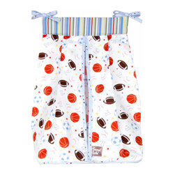 Trend Lab - Little Mvp - Diaper Stacker - Why not go all the way? and complete your babys nursery with this wonderful accessory? Keep your diapers organized concealed and close at hand with the Little Mvp - Diaper Stacker by Trend Lab features ties allow for easy attachment to most dressers and changing tables. Measures 12 x 8 x 20.25 inches and holds up to three-dozen diapers. Care instructions Machine wash cold; Gentle cycle; Do not bleach; Tumble dry low or line dry; Do not dry clean.