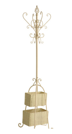 Holly & Martin - Graham Hall Tree with Rattan Storage, Ivory - Proof that organization doesn't have to be boring, this stylish black coat rack and its graceful scroll detail is sure to be a welcome addition to your home or office. With plenty of hooks for hats, coats, jackets or scarves, the baskets add additional storage space for umbrellas, small totes or mittens. The small basket measures 11 inches by 6 inches by 7 inches tall and the large basket measures 13 inches by 7.5 inches by 7.5 inches tall.