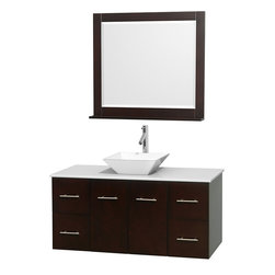 """Wyndham Collection - Centra 48"""" Espresso SGL Vanity, White Stone Top, White Porcelain Sink, 36"""" Mrr - Simplicity and elegance combine in the perfect lines of the Centra vanity by the Wyndham Collection. If cutting-edge contemporary design is your style then the Centra vanity is for you - modern, chic and built to last a lifetime. Available with green glass, pure white man-made stone, ivory marble or white carrera marble counters, with stunning vessel or undermount sink(s) and matching Mrr(s). Featuring soft close door hinges, drawer glides, and meticulously finished with brushed chrome hardware. The attention to detail on this beautiful vanity is second to none."""