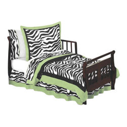 """Sweet Jojo Designs - Green Zebra Toddler Bedding Set (5 Pc.) - The Green Zebra  5-Piece Toddler Bedding Set by Sweet Jojo Designs will help you create an incredible room for your child. This toddler bedding set features a super contemporary zebra print fabric paired with vivid solids to create a graphic, modern look. This collection uses the stylish colors of lime, black and white. The design uses 100% cotton fabrics that are machine washable for easy care. This wonderful set will fit all crib and toddler beds.Your 5 Piece Toddler Bedding Set includes a comforter, fitted sheet, flat sheet, pillow sham, and pillow case.The dimensions of this set are as follows:Toddler Comforter (48"""" x 60"""")Standard Sham (20"""" x 26"""")Standard Pillowcase(20"""" x 26"""")Fitted Sheet (28"""" x 52"""")Flat Sheet (42"""" x 70"""")This Set does not come with the bed skirt, but the bed skirt may be added - please see the beding accessories for this set.This set comes in a zippered, handled carrying bag. Every piece is non allergenic and machine washable for ease and repeated use."""