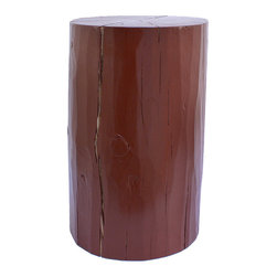 """Pfeifer Studio - Eco-Friendly Stool Table, Glazed Terra Cotta, 12""""Dia x 16""""H - This stool, particularly in the cool dove-gray color, manages to marry rustic and minimalist style to great effect. Why not use a trio of different sizes as eye-catching side tables in your living room?"""