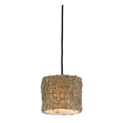 Uttermost - Knotted Rattan Light Mini Drum Pendant - Here's a ceiling centerpiece with natural flair, perfect for your favorite setting. The freeform pattern of knotted rattan on a simple drum shade feels both modern and chic.
