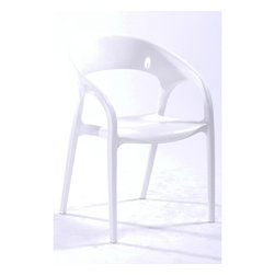 White Line Imports - Orti White Plastic Chair (Set of 4) - Features: