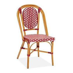 "French Cafe All-Weather Wicker Dining Chair, Set of 6, Red - Designed after chairs we spotted on a sidewalk outside a Paris cafe, these all-weather pieces bring a colorful, light-hearted look to outdoor entertaining. 18.5"" wide x 21.5"" deep x 35"" high Seat and backrest crafted from handwoven resin wicker. Crafted from a durable synthetic that replicates the look and feel of rattan, but is impervious to sun, rain, heat and cold. Aluminum frame is coated a matte Honey. View our {{link path='pages/popups/fb-outdoor.html' class='popup' width='480' height='300'}}Furniture Brochure{{/link}}."