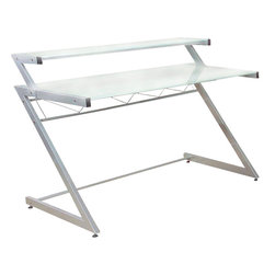 """Eurostyle - Eurostyle Z Deluxe Medium Desk in Aluminum & Frosted Glass Top - Medium Desk in Aluminum & Frosted Glass Top belongs to Z Deluxe Collection by Eurostyle Heavy duty powder epoxy coated steel frame. Tempered glass desk top and shelves. Keyboard tray and hanging file holder available separately. Other components available to form an """"L"""" shaped desk. Medium Desk (1)"""