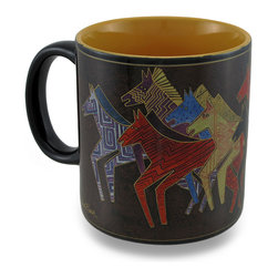 Zeckos - Laurel Burch Earth Tone Native Horses Ceramic Coffee/Tea Mug - Wake up with Laurel Burch each morning sipping hot coffee or tea from this colorful mug This ceramic mug features the 'Native Horses' design from her 'Mythical Horses' collection featured in earth tones with a contrasting orange interior. This 3.75 inch tall, 3.5 inch diameter (9x8 cm) mug holds 14 ounces of your favorite beverage, and is microwave and dishwasher safe. It makes the perfect gift for collectors or fans of Laurel Burch art, and is a must-have piece for your own assortment